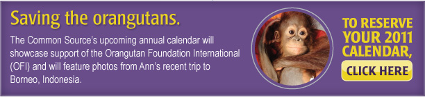 The Common Source's upcoming annual calendar will showcase support of the Orangutan Foundation International (OFI) and will feature photos from Ann's recent trip to Borneo, Indonesia. To reserve your 2011 calendar, click here. [http://www.commonsource.com/enewsletter/2010/12/enews/form.php]