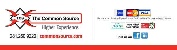 For detailed information, call us at 281.260.9220 or to visit our website click here. [https://www.commonsource.com/]  The Common Source 281.260.9220 commonsource.com  Join us on [Facebook & LinkedIn logos] [https://www.facebook.com/pages/The-Common-Source/135787343114308?ref=ts] [https://www.linkedin.com/company/1030204?trk=null]  We now accept American Express®, Visa®, and MasterCard®, for quick and easy payment.