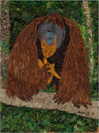 """Tom the Gentle Giant"" by artist Grant Manier using more than 25,000 pieces of recycled posters, magazines and puzzles."